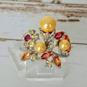 Champagne Pearl & Sapphire Ring